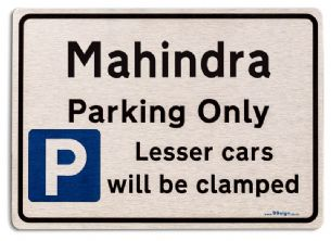 Gift for Mahindra car owner | New Parking only Sign | Metal face Brushed Aluminium